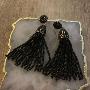 Bauble Bar black bead tassel earrings